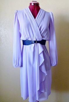 vintage Periwinkle Surplice Sheer dress MEDIUM by june22nd on Etsy, $24.50