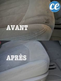 Car seats before and after cleaning with stain remover for home-made car interior. Wooden Bar Table, Car Carpet Cleaner, Ikea Stool, Compact Table And Chairs, Beauty Games, Car Upholstery, Car Mats, Cleaners Homemade, Carpet Stains
