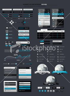Elements of Infographics with buttons and menus Lizenzfreie Vektorillustrationen