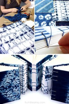 Shibori Tie Dye Journals made by Florida book artist Ruth Bleakley after Callishibori class at Aya Fiber Studio Tie Dye Techniques, Art Journal Techniques, Fabric Painting, Fabric Art, Boro, Tie Dye Crafts, Bookbinding Tutorial, Shibori Tie Dye, Buch Design