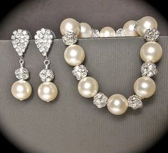 Pearl bracelet and earring set  Ivory/cream  by QueenMeJewelryLLC, $59.99
