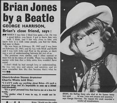 Brian Jones by George Harrison of the Beatles.( Charlie Watts also of the Stones wrote a little something too) The Rolling Stones, Rolling Stones Album Covers, Brian Jones Rolling Stones, George Harrison, El Rock And Roll, Rollin Stones, Good Fellows, Charlie Watts, The Fab Four
