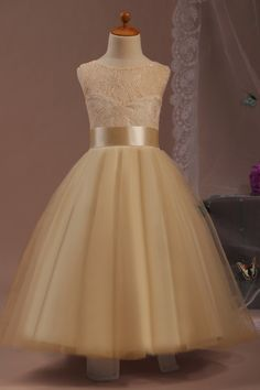 Find More Flower Girl Dresses Information about Vestido de Festa de Casamento 2015 Free Shipping Ball Gown Champagne Flower Girl Dress Long Party Dresses ,High Quality dress multi,China dress hip Suppliers, Cheap dress crepe from Angel's Wedding Store on Aliexpress.com