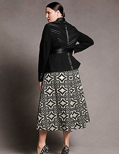 LOVE this jacket!! Ponte knit jacket with satin chevron back detail and sweetheart neckline with satin collar. Satin sash and buttoned cuffs, with surplice double-button closure. Front pockets. lanebryant.com