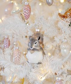 Squirrel in my Christmas tree  by Torie Jayne Shabby Chic Christmas, Woodland Christmas, Christmas Fairy, Vintage Christmas Ornaments, Pink Christmas, Winter Christmas, Christmas Themes, Christmas Bulbs, Christmas Decorations