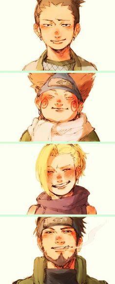 Naruto Equipo 10 Asuma Ino Chouji Shikamaru