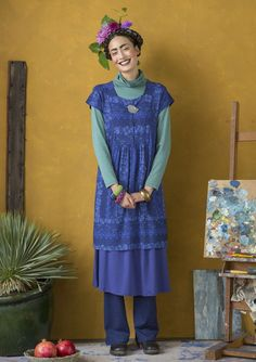 """We played with the fabulous """"Azul"""" pattern in different directions in this jersey dress. The style features short sleeves, and a gloriously wide skirt. Available in three fabulous colorways."""