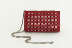 Red leather purse with shoulder chain