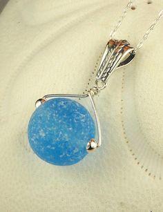 Genuine Aquamarine Sea Glass Marble Necklace by seaglassgems4you, $48.00