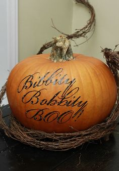 """Make a disney-inspired pumpkin this Halloween. Using the fairy godmother's nonsensical spell as a Halloween pun is pure genius (and less scary than other things that go """"boo!"""" in the night)."""