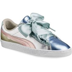 Low top sneakers made of metallic leather Leather upper Lace-up vamp Padded collar Rubber sole Imported. Nike Shoes Blue, Pumas Shoes, Running Shoes Nike, Metallic Sneakers, Leather Sneakers, Puma Sneakers, Shoes Sneakers, Women's Shoes, Sneakers Fashion