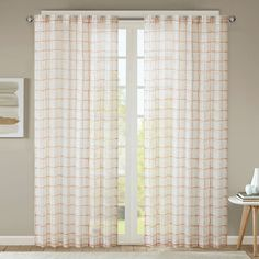 Urban Habitat Cyrus Geometric Burnout Sheer Curtain, Med Pink