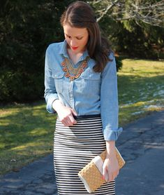 Chambray Shirt + Black and White Striped Skirt (Wear thin stripes on a dark background. They won't highlight problem areas like thick ones can)