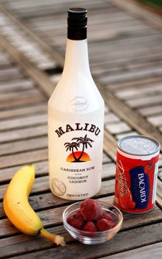 Strawberry Daiquiri  Bacardi Mix, a package of frozen strawberries, a banana, and a bottle of coconut rum.
