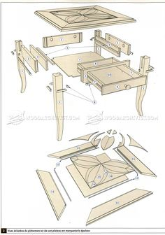 #1170 Marquetry Side Table Plans - Furniture Plans