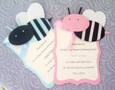 Cute Pink Bumble Bee Baby shower Invitations by LKsInvitations, £1.85