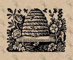 Antique image Beehive Bee Hive Instant Download Digital printable vintage picture clipart graphic fabric transfer burlap decor etc HQ 300dpi by UnoPrint on Etsy #hq #png #bw #Ephemera #diy #old #book #illustration #gravure #inspiration #retro #antique #vintage #300dpi #craft #draw #drawing #black #white #printable #crafts #transfer #decor #hand #digital #collage #scrapbooking #quality