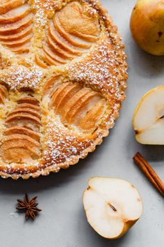 Pear Frangipane Tart This classic French poached pear tart is made with a sweet tart dough and filled with poached pears and frangipane (almond cream). Serve over the holiday season for a special treat! Pear Recipes, Sweet Recipes, Baking Recipes, Apple Tart Recipes, Pear Dessert Recipes, French Recipes, Jelly Recipes, Kitchen Recipes, Gastronomia