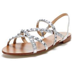 Maiden Lane Dakota Studded Gladiator Sandal (29 PAB) ❤ liked on Polyvore featuring shoes, sandals, silver metallic leather, metallic sandals, studded gladiator sandals, ankle strap flat sandals, metallic gladiator sandals and flat leather sandals