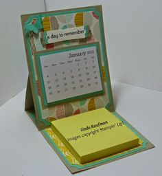 Linda Ks Stampin Page: Stampin Up!s Best Year Ever easel calendar card - DIY Craft's - Mydiddl Fancy Fold Cards, Folded Cards, Peppa E George, Post It Note Holders, 3d Paper Crafts, Easel Cards, Craft Show Ideas, Desk Calendars, Card Tutorials