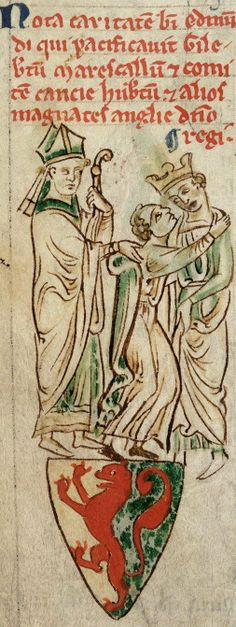 Edmund Rich, Archbishop of Canterbury, reconciling Gilbert Marshal, 4th Earl of Pembroke, and Henry III. 13th century. Author: Matthew Paris, Historia Anglorum