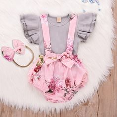 baby girl fashion Fashion Baby Girl Clothes Toddler Infant Sleeveless Ruffle Tops Overall Floral Short Clothes Set Baby Outfits, Toddler Girl Outfits, Short Outfits, Kids Outfits, Newborn Girl Outfits, Easter Outfits Baby Girl, Baby Girl Fashion, Kids Fashion, Babies Fashion
