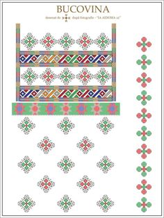 reconstituire - ie 12 - bucovina cu margele. Cross Stitch Borders, Simple Cross Stitch, Cross Stitch Patterns, Beading Patterns, Knitting Patterns, Embroidery Motifs, Costume Patterns, Folk Art, Projects To Try