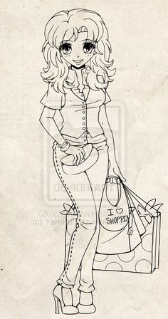 Shopping Girl Lineart Commission By YamPuff On DeviantArt