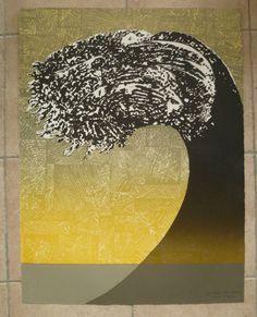 LITHOGRAPHIE originale DES ANNEES 70, PAR JUNE WAYNE, black tidal wave