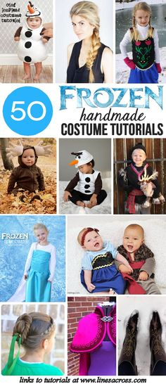 50 DIY Frozen Costumes - 50 Tutorials for handmade Frozen costumes and accessories. Includes Elsa, Anna, Kristoff, Olaf, and Sven. #Halloween #Costume #Frozen