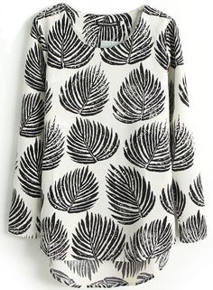 Black Long Sleeve Leaves Print Dipped Hem Blouse-17$