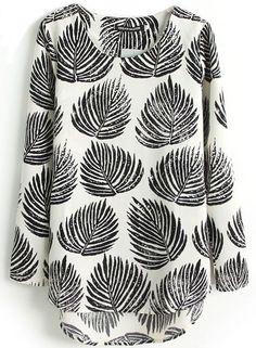 Blusa Hojas mangas largas-Negro EUR€18.33