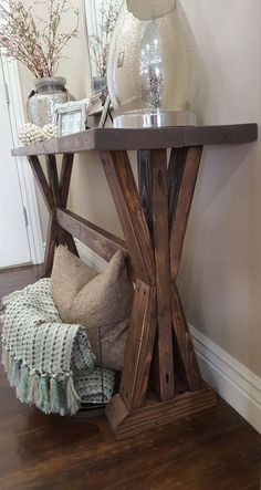 Etsy の rustic farmhouse entryway table. by ModernRefinement Decor, Furniture, Farmhouse Decor, Rustic Decor, Entryway Decor, Home Decor, Farmhouse Entryway Table, Home Deco, Rustic House