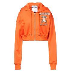 Moschino Double Capsules Print Womens Long Sleeve Zip Sweatshirt Orange