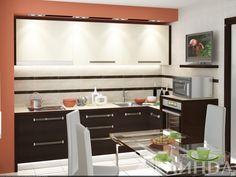 Маленькая угловая кухня модерн, в стандартную квартиру, светлый верх, темный низ. Духовой шкаф в пенале приподнят. / Small but functional kitchen