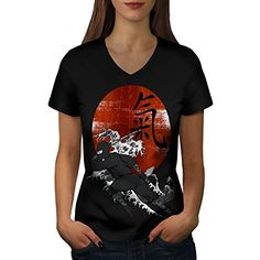 Samurai Ninja Sunset Hieroglyph Women NEW Black L VNeck Tshirt  Wellcoda -- You can get more details by clicking on the image.