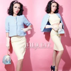 FREE SHIPPING Vintage sweet classic a light blue short jacket $33,36