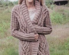 PDF Knitting Pattern Cabled Aran Jacket or Coat 34-42 | Etsy Aran Knitting Patterns, Jacket Pattern, Snug, Pdf, Pullover, Wool, Sweaters, Jackets, Etsy