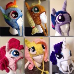 crochet pony Rarity My Little Pony Crochet Beanie Hat by KarliethenSOLEIL? Crochet Pony, Poney Crochet, Crochet Unicorn Hat, Crochet Beanie Hat, Cute Crochet, Crochet For Kids, Crochet Crafts, Knit Crochet, Crocheted Hats