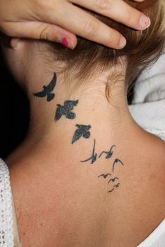 these little bird tattoos look damn cute on girls.. especially neck or ankle.. #bird #silhouette #tattooedlove girls women