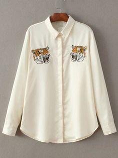 Beige Tiger Embroidery Hidden Button Blouse