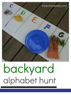 With this backyard alphabet hunt kids will love a silly way to get moving, hunting, and searching for the ABC's in their own back yard! #teachmama #alphabet #learnthealphabet #handsonlearning #preschool #kindergarten #kidsactivities #scavengerhunt