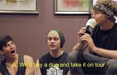 Calum's reaction when Ash said they would buy a dog