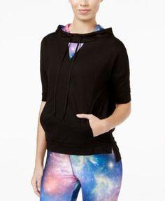 Energie Active Juniors' Contrast Open-Back Short-Sleeve Hoodie | macys.com