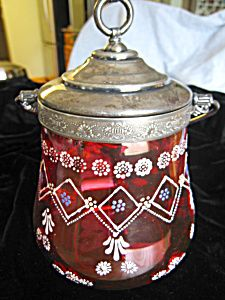 Antique Enameled Cranberry Glass Biscuit Jar