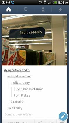 Oh no. Not the adult cereals.