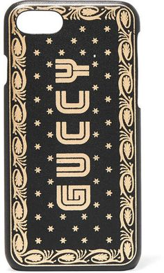 a691a2eb638 Gucci Printed Leather Iphone 7 Case - Black
