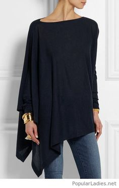 Asymmetric blouse with jeans