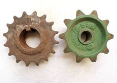 Antique Vintage Lot Of 2 Metal Industrial Gears Sprocket Cogs Repurpose Art! in Antiques, Antiques | eBay