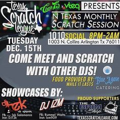 DALLAS & FORT WORTH Tonight at 8pm | 1010 Social @circa_75 & @djvteq are hosting this event. Join in on some cuts! #txscratchleague #turntablist #turntablism #practiceyocuts by txscratchleague http://ift.tt/1HNGVsC